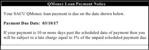 Payday Loan Alternative experiment - Loan payment notice - control conditions