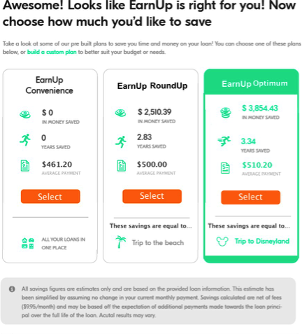 EarnUp test in experimental condition for saving money | Budget management