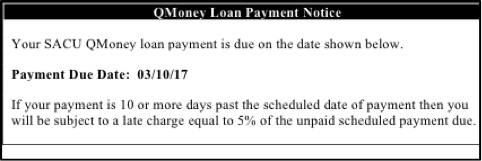 Payday Loan Alternative experiment - Loan payment notice - experimental conditions