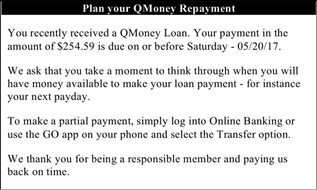 Payday Loan Alternative experiment - Loan payment notice - experimental conditions 2